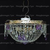 Люстра хрустальная Анжелика 3 лампы журавлик фиолетовый