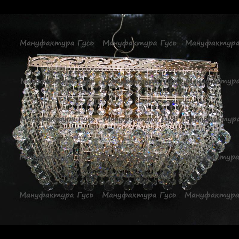 Люстра хрустальная Квадрат 5 ламп Гамма шар 30 мм длинная