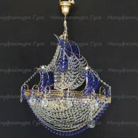 Люстра хрустальная Корвет 4 лампы синий