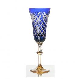 Хрустальный набор бокалов «Фараон» с янтарной ножкой цв. синий