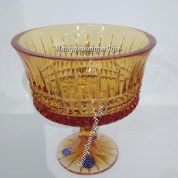 """Хрустальная ваза для конфет серии «Шведка» рис. """"Медовый спас""""на ножке"""