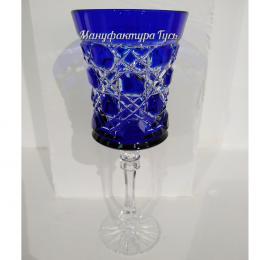 Хрустальный набор 6 фужеров серии «Шведка» цв.синий