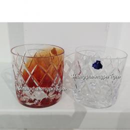 Хрустальный набор 2х стаканов для виски рис. с налепом