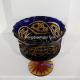 Хрустальная ваза для конфет серии «Шведка» цв. янтарно-синий