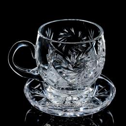 """Хрустальный набор """"Чашка с блюдцем"""" 6шт."""