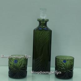 Хрустальный набор штоф «Глеб» и 2 стакана для виски