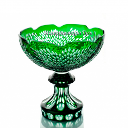 "Хрустальная ваза для фруктов ""Торжество""бесцветно-зелёная"