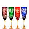"""Хрустальный набор 4 бокалов для воды """"Фараон"""" разноцвет с янтарем"""