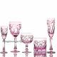 Хрустальный набор 6 рюмок произвольный рисунок цв. розовый (эрбий)