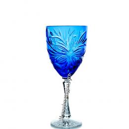 Хрустальный набор 6 бокалов для вина произ.рис., цв васильковый