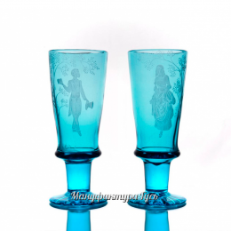 Хрустальный бокал «Герцог» с гравировкой цв.бирюзовый
