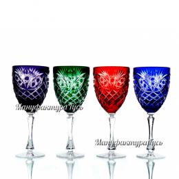 """Хрустальный набор 4 бокалов для вина """"Фараон"""" разноцвет"""