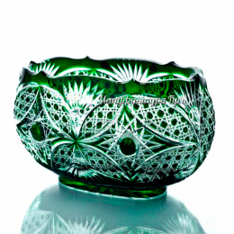 Хрустальный cалатник «Ладья» цв.зеленый+бесцвет