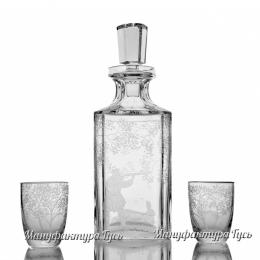 """Хрустальный набор """"Охота"""" (штоф, 2 стопки, 2 стакана для виски)"""