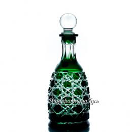 Хрустальный графин «Кубовастый» произ.рис. , цв.зеленый+бесцветный