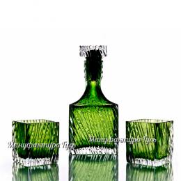 """Хрустальный набор для виски """"Кватро"""" (штоф, пробка, 2 стакана)"""