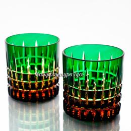 """Хрустальный набор 2 стаканов для виски рис. """"Медовый спас"""" цв.янтарно-зеленый"""
