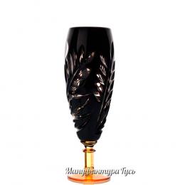 """Хрустальный набор 6 бокалов для шампанского """"Орешек цв. янтарно-черный"""