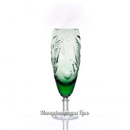 Хрустальный набор бокалов «Фараон» с янтарной ножкой цв. зеленый
