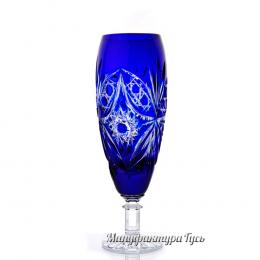 """Хрустальный набор 6 бокалов для шампанского """"Орешек"""" синий"""