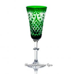 Хрустальный набор бокалов «Фараон» цв. зеленый с бесцветом