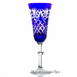 Хрустальный набор фужеров «Фараон» цв. синий с бесцветом