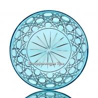 Хрустальная декоративная тарелка произв.рис., маленькая бирюзовая