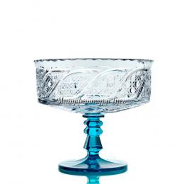 "Хрустальная ваза для фруктов ""Шведка""  (бесцветная чаша, бирюзовая ножка)"