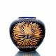 """Хрустальная декоративная ваза """"Богема"""" произвольный рисунок ,цвет: синий+янтарный"""