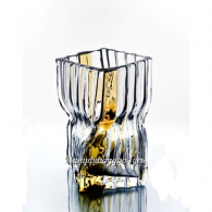 """Хрустальная декоративная ваза """"Архитектон"""", широкая, бесцветный с янтарным"""