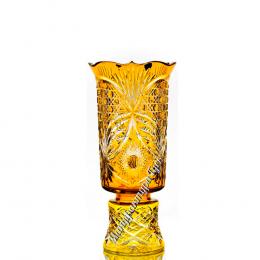 """Хрустальная ваза для цветов """"Апрель"""" оранжевая"""