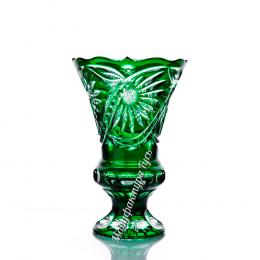 """Хрустальная ваза для цветов """"Бавария"""" малая, цв.зелёный"""