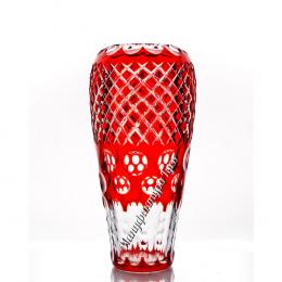 """Хрустальная ваза для цветов """"Каскад"""", большая красный"""