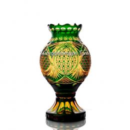 Хрустальная декоративная ваза «Каменный цветок»  цв. янтарно-зеленый