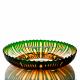Хрустальное декоративное блюдо, рис. произвольный, цвет янтарно-зеленый