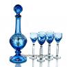 """Хрустальный набор Графин """"Десертный"""" и 6 рюмок """"Натали"""" с живописью ,цв.синий полутон"""