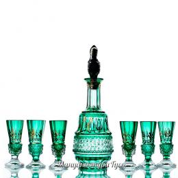 """Хрустальный набор """"Елизавета"""" (графин,пробка,6 стопок) с живописью, зеленый полутон"""
