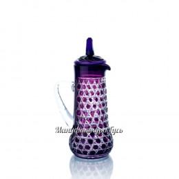"""Хрустальный кувшин с крышкой """"Боярин"""", рис. произвольный, цвет - фиолетовый"""