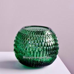 """Хрустальная ваза для цветов """"Разноцвет"""", сред., зеленый полутон"""