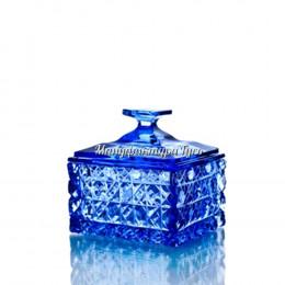 Хрустальная шкатулка василькового цвета