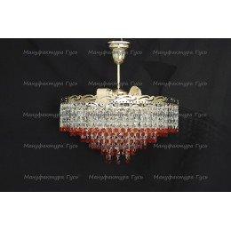 Люстра хрустальная Капель 3 лампы обтикон красная с подвесом (собрана под конус)