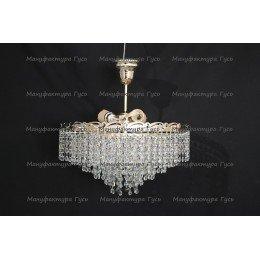 Люстра хрустальная Капель 3 лампы обтикон с подвесом (собрана под конус)