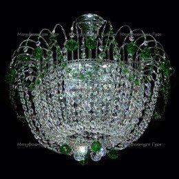 Люстра хрустальная Акация 28 шаров 30мм зеленая  (без зеркала)