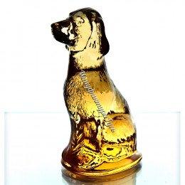 Хрустальная собачка янтарная
