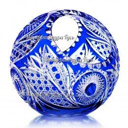 """Хрустальная ваза-корзинка для фруктов """"Лукошко"""" цв.синий"""