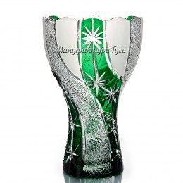 "Хрустальная ваза для цветов ""Звездная карусель"" цв.зеленый"