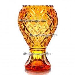 """Хрустальная ваза для цветов """"Барыня"""" бол.,цв. янтарный"""