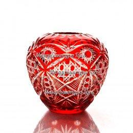 "Хрустальная ваза Ваза для цветов ""Каскад"",  мал. рис. «Произвольный» цв.красный"