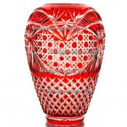"""Хрустальная ваза Ваза для цветов """"Каскад"""",  сред. рис. «Произвольный» цв.красный"""