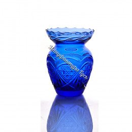 Хрустальная ваза для цветов «Маки» цв.голубой